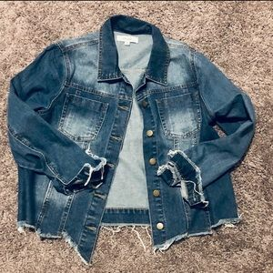 Hot Miami Styles NWT Denim Jacket with frayed hem